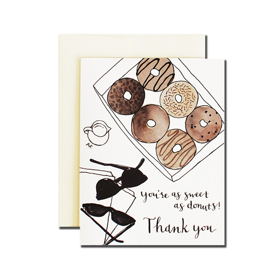 Donuts Thank you A2 Size Folded Card Champagne Metallic Envelope