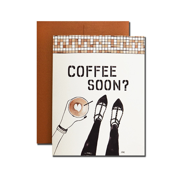 Coffee Soon? A2 Size Folded Card Bronze Metallic Envelope