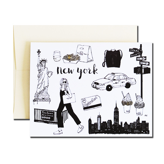 New York A2 Size Folded Card Champagne Metallic Envelope