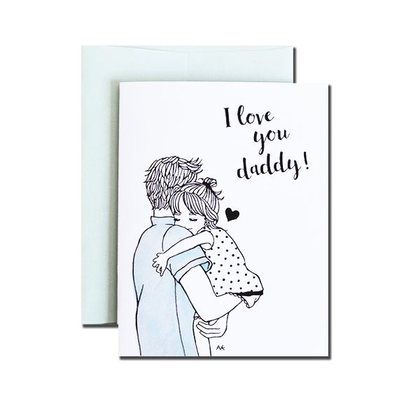 Love You Daddy A2 Size Folded Card Aqua Metallic Folded Card
