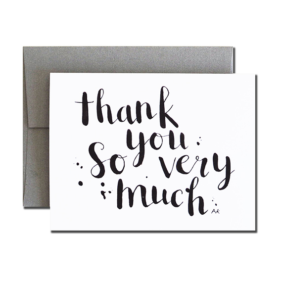 Thank you Calligraphy A2 Size Folded Card Stone Metallic Envelope