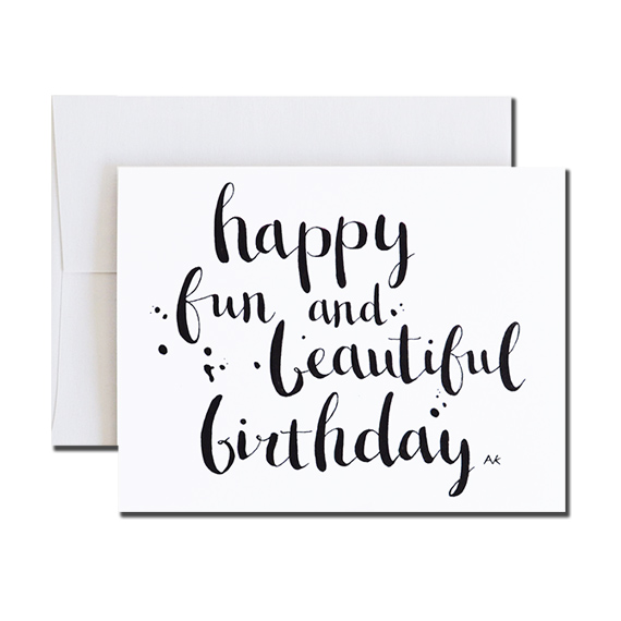 Happy Birthday Calligraphy A2 Size Folded Card Crystal Metallic Envelope