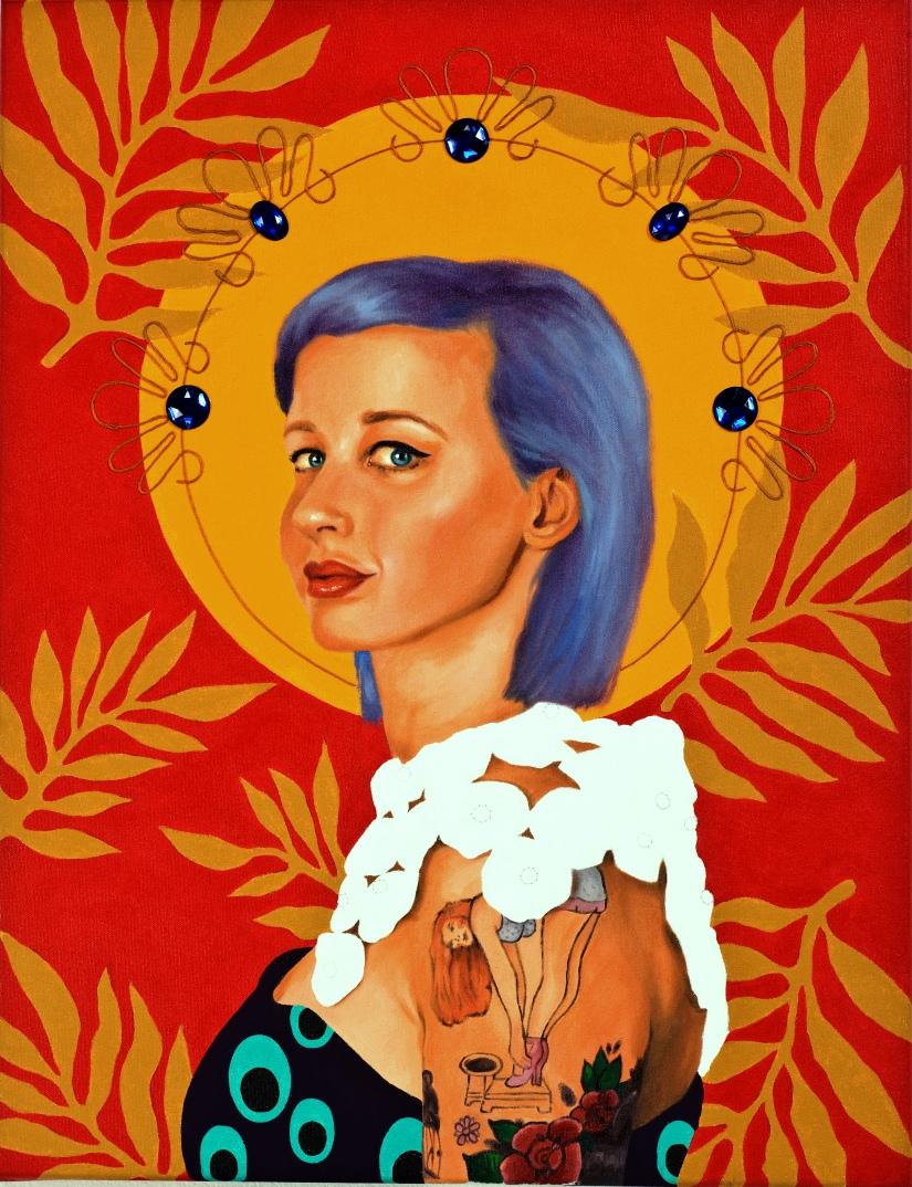 Ruby Chew, Carla, Oil, Acrylic, Thread and Gems on Canvas, 52 x 66, 2013