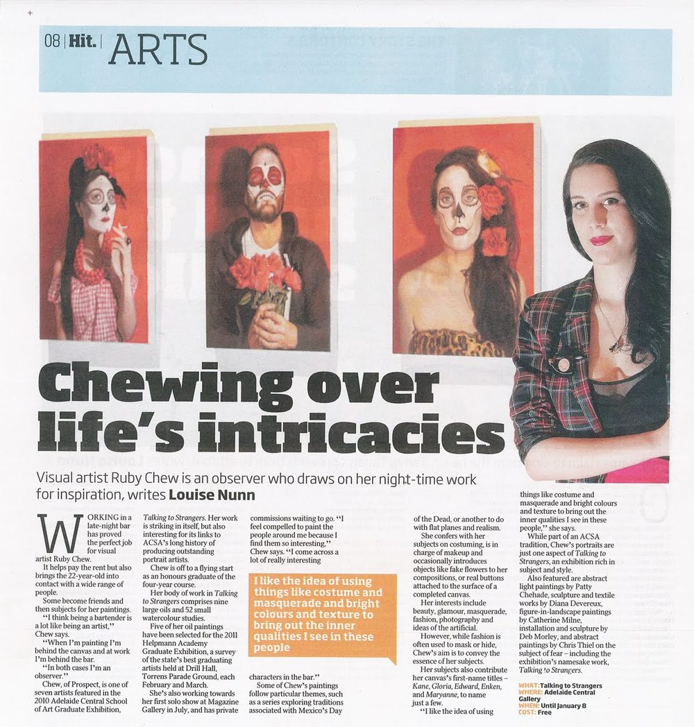 Nunn L , Chewing Over Life's Intricacies , The Advertiser, Dec 30, 2010