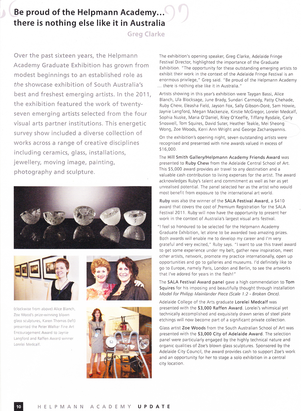 Helpmann Academy Graduate Exhibition   ,   Helpmann Academy Update Arts Magazine, May 2011