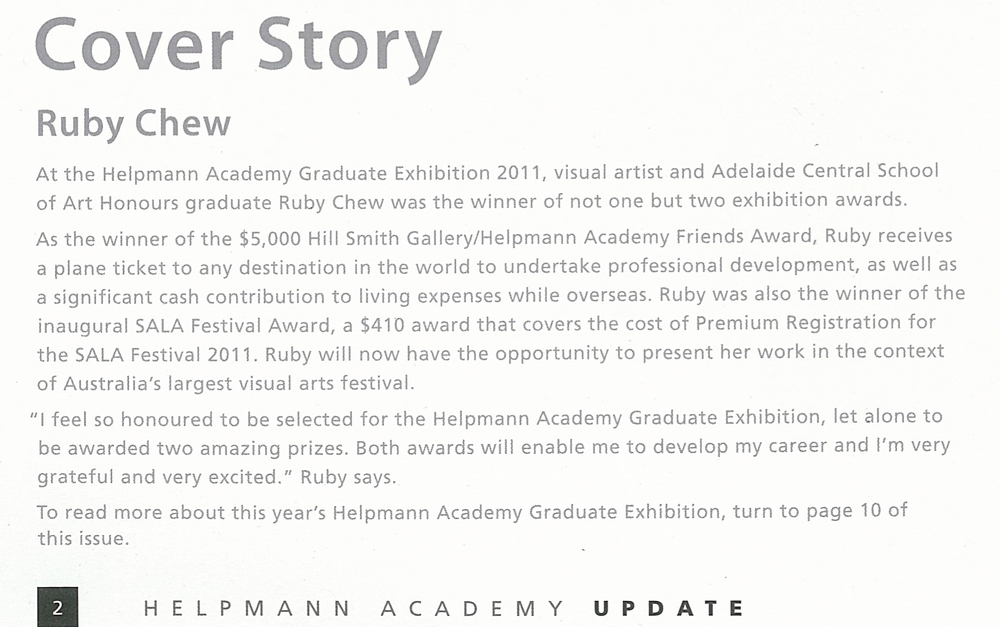 Cover Story, Ruby Chew   ,   Helpmann Academy Update Arts Magazine, May 2011