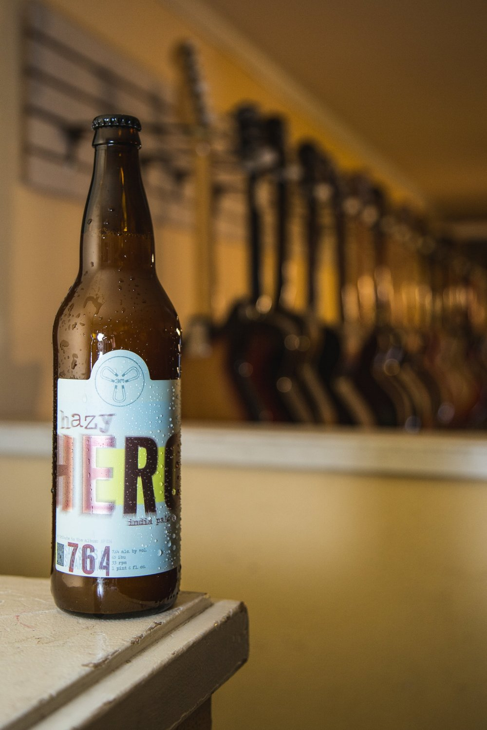 HAZY HERO IPA This hazy India pale ale was brewed in collaboration with former frontman of several 90s-era Seattle indie bands, John Atkins. It's a tribute to the debut 764-HERO album Salt Sinks and Sugar Floats, recorded 21 years ago in Olympia.