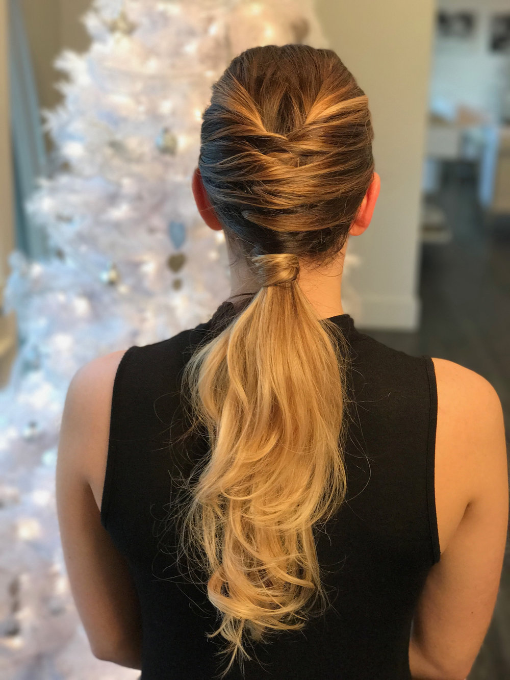 Glam up any party dress with this perfectly polished ponytail | Styled by Allie