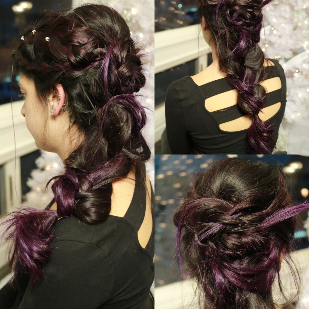 Rock all night around the Christmas tree with this fun, twisted-crossover braid | Styled by Shana