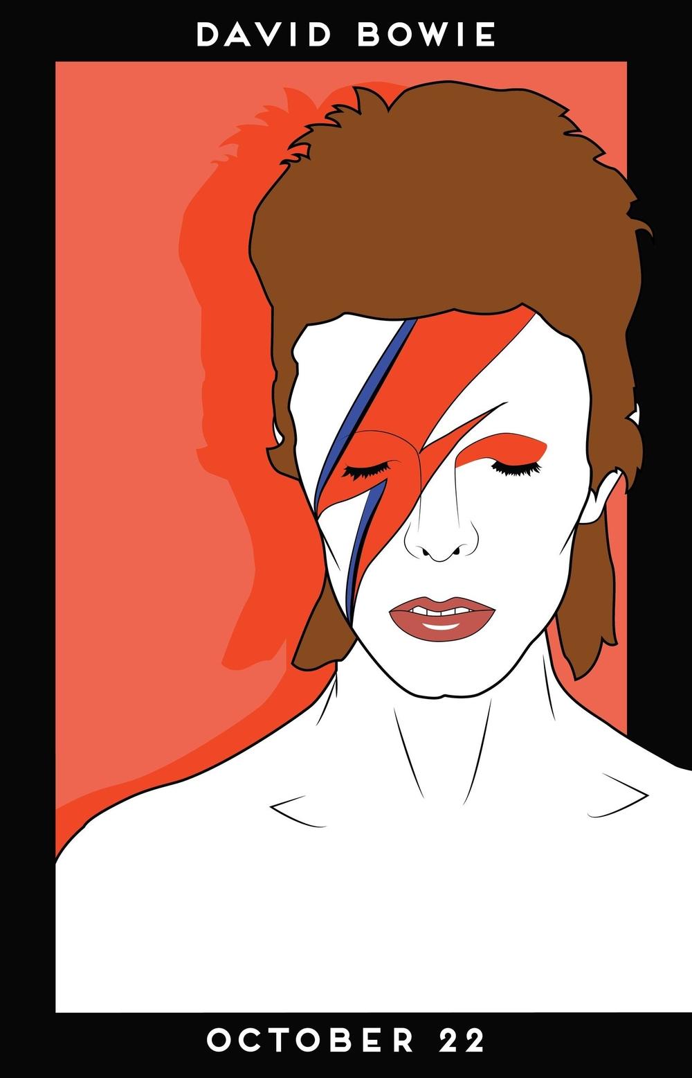 80s Pop Design inspired poster. Vector illustration of David Bowie.