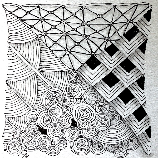 Zentangle by Grace Mendez, who teaches San Francisco workshops in how to make them for a cool $45 per hour. She's a 'Certified Zentangle Teacher', apparently.