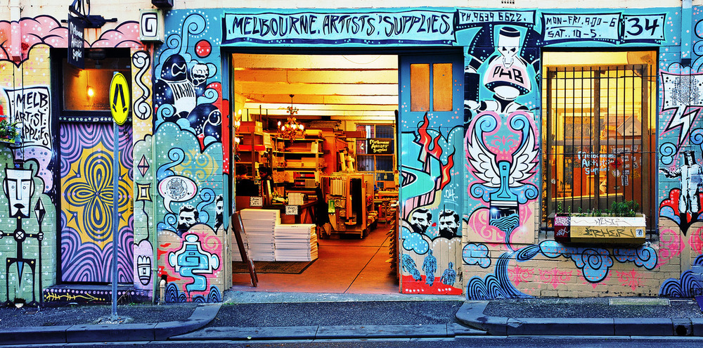 Melbourne Artists' Supplies Little LaTrobe St facade. Photo by Melbourne photographer ' KL .'