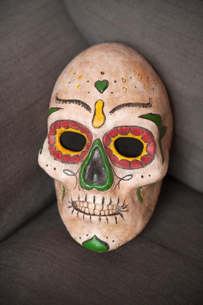 Luc Favre, Day of the Deadpapier mâché mask.