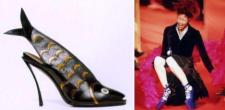 'Fish Shoe' by André Perugia, 1931 and a rather delightful photo of Naomi Campbell falling over in Vivienne Westwood shoes, 1993, via REX.