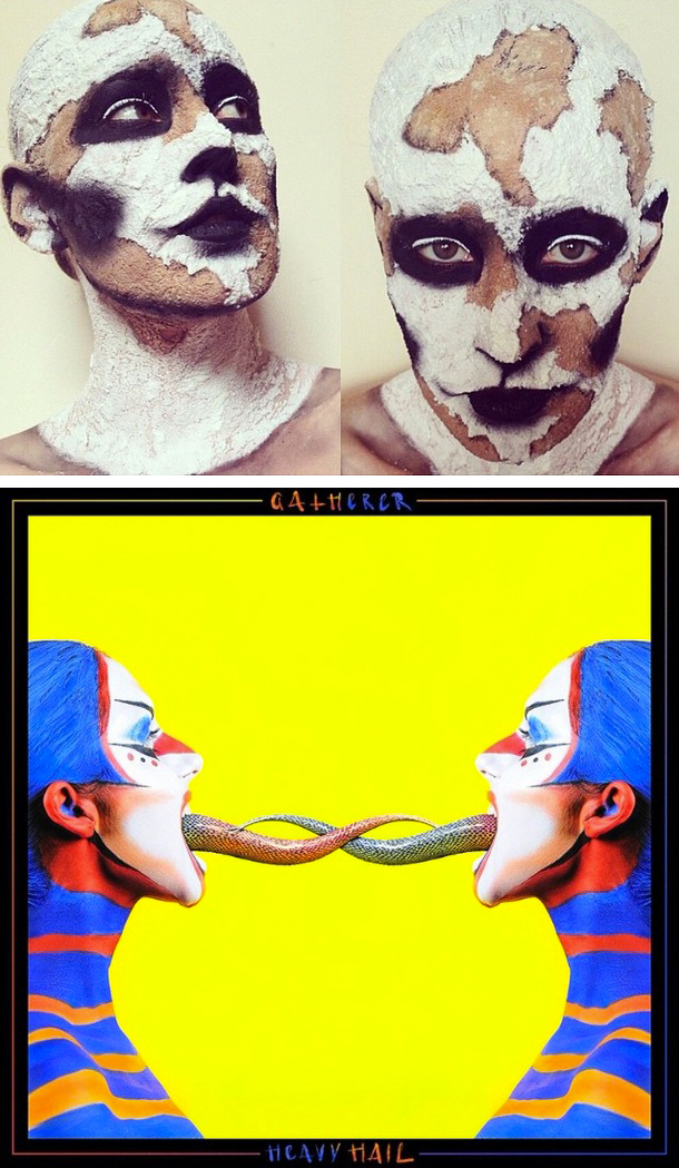 Top: Kate's sugar sand experiments. Bottom: album cover for Gatherer's 'Heavy Hail', MUA by Kate Murphy.