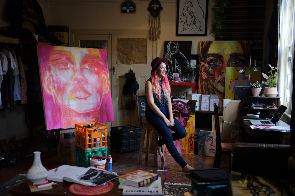 Sarah in her studio at home. Photo by Sarah Walker.