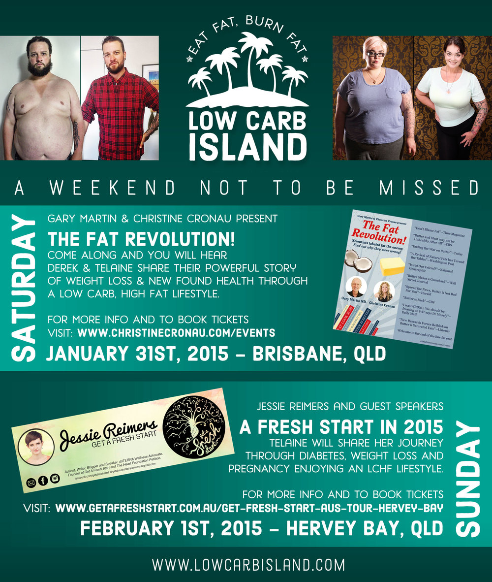 2 Great Events you won't want to miss THIS WEEKEND...    Saturday in Brisbane -  www.christinecronau.com/events   Christine Cronau  brings The Fat Revolution.  Sunday in Hervey Bay -  http://www.getafreshstart.com.au/get-fresh-start-aus-tour-hervey-bay/  Jessie Reimers and Guests help you get a Fresh Start in 2015.  Click the links for more info. Hope to see you there!