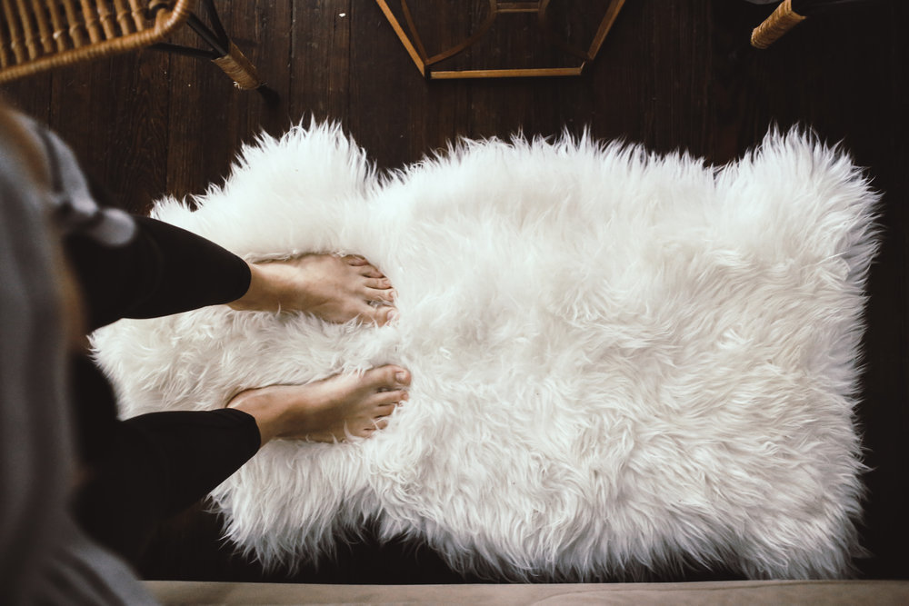 Design by Touch:  Sheepskin rugs from now until forever for tired Momma feet and squishy baby buns.