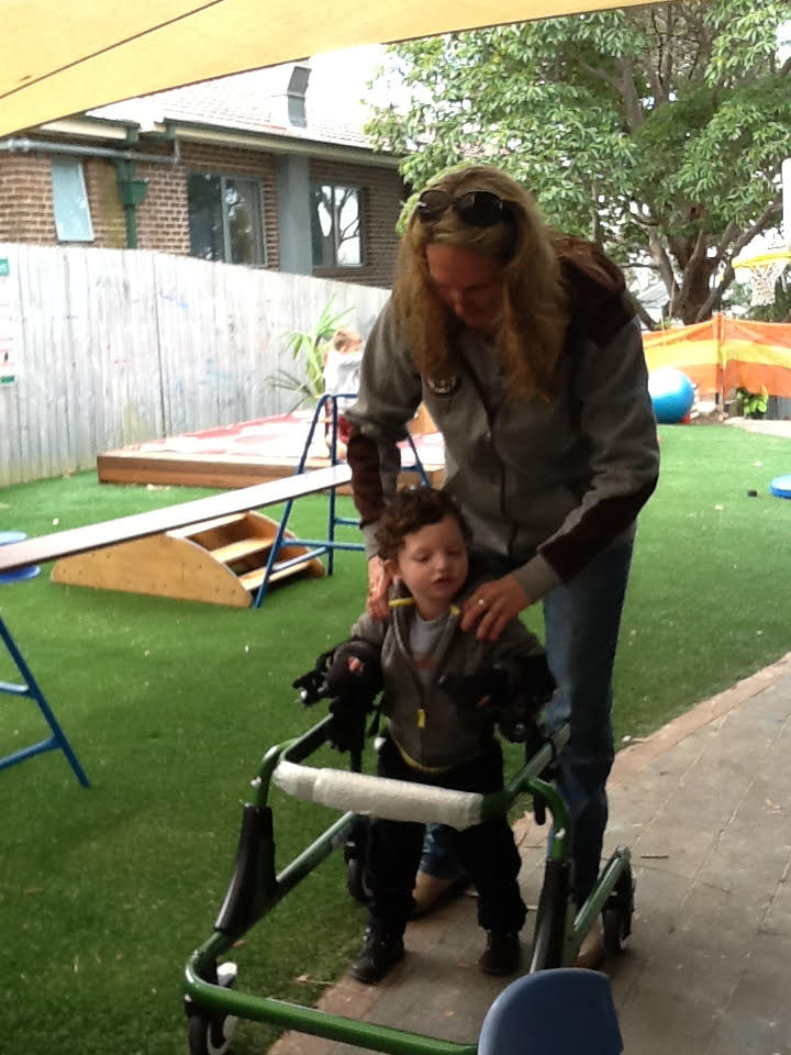Hugo and his nanny, Jodie, practising walking at Waterford Preschool.