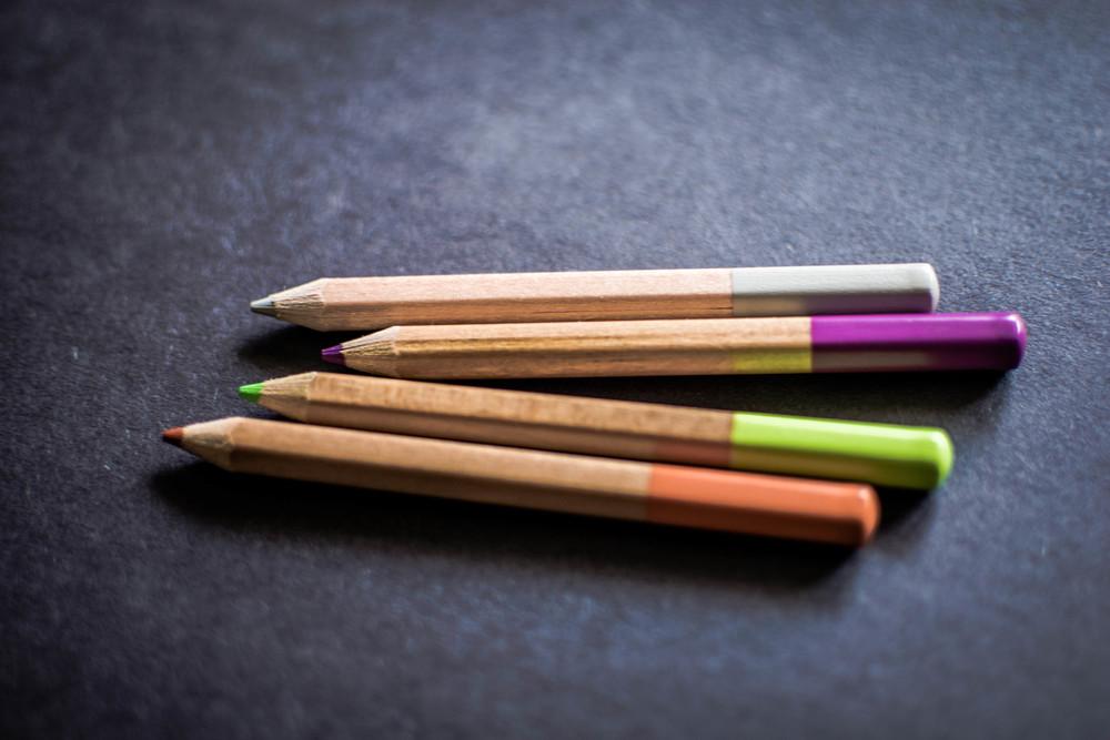 Colored pencils in CursiveLogic theme colors