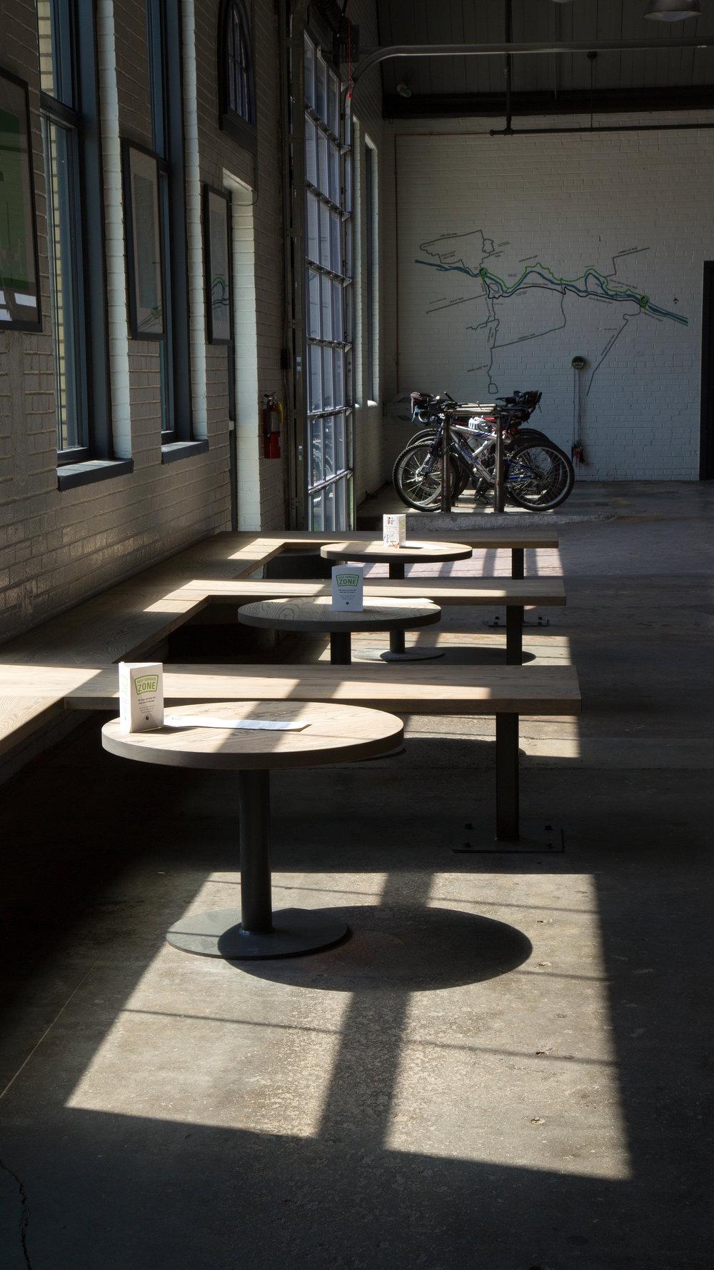 Bike lounge bench seating