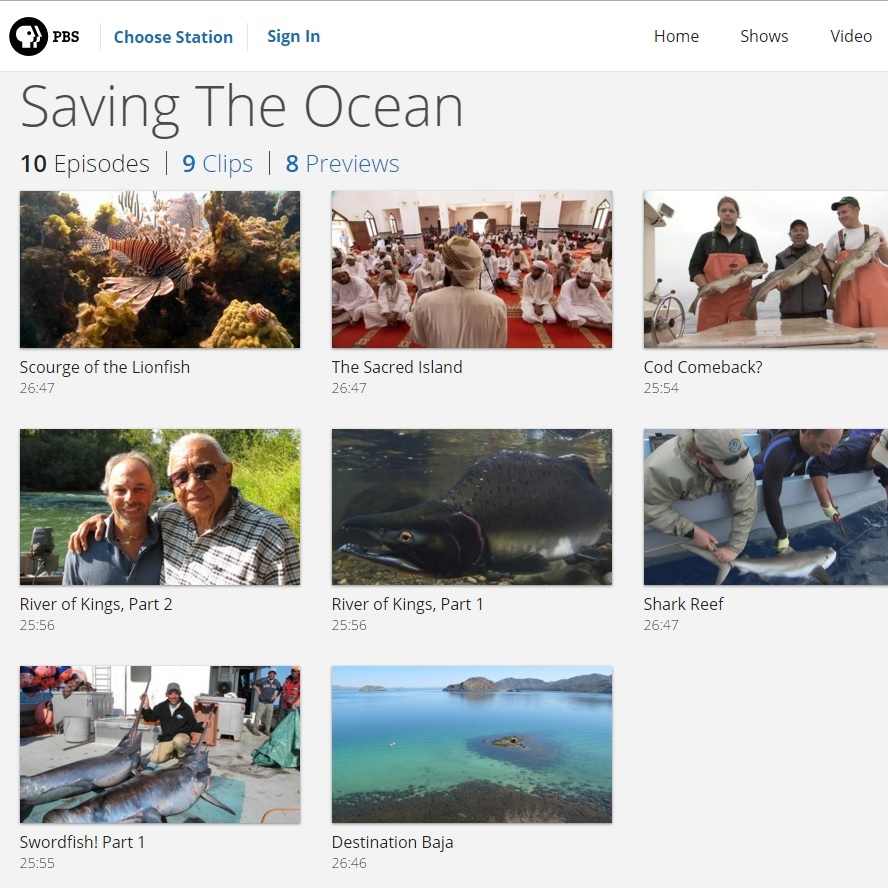 Click the photo to go see episodes from the author's PBS series, Saving the Ocean.