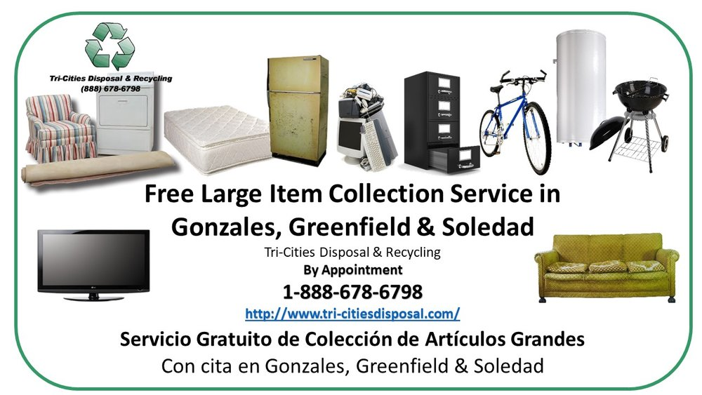 Free Large Item Collection Service! - Up to five items per collection, up to ten times per year.  If you live in an apartment or multi-family complex, have your manager contact us to designate a pickup location on the property. For more information or to make an appointment, call toll-free 1-888-678-6798.