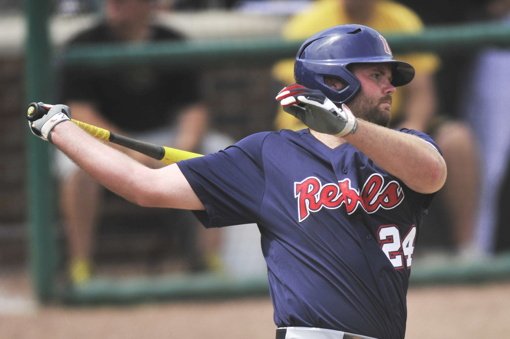 Ole Miss' Sikes Orvis hits a homerun at Taylor Stadium in Columbia, Mo. on May 3, 2015. Sikes made two homeruns during the game.