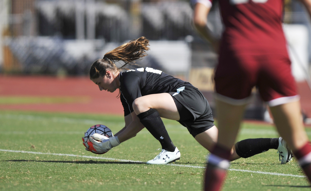 South Carolina's goalkeeper Caroline Kelly catches the ball at Walton Stadium in Columbia, Mo. on Sunday, September 20, 2015. Missouri lost 1-0.