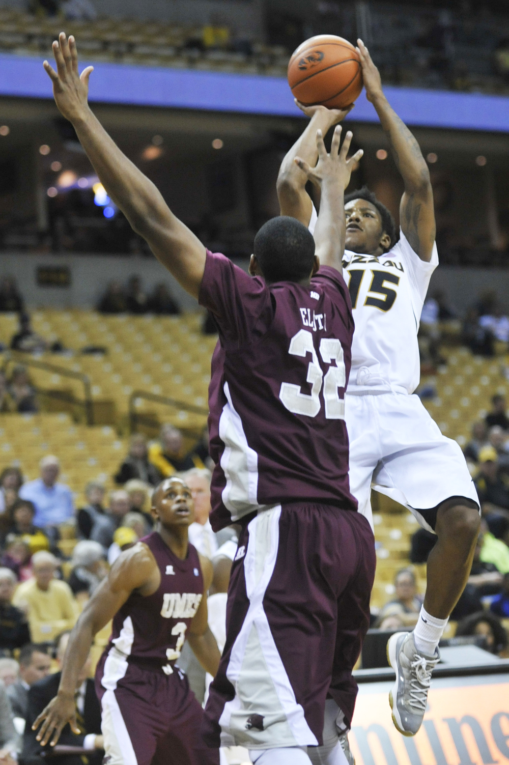 Missouri's Wes Clark shoots the ball past Maryland-Eastern Shore's Dominique Elliott on Sunday, November 15, 2015 at Mizzou Arena. Missouri won 73-55.