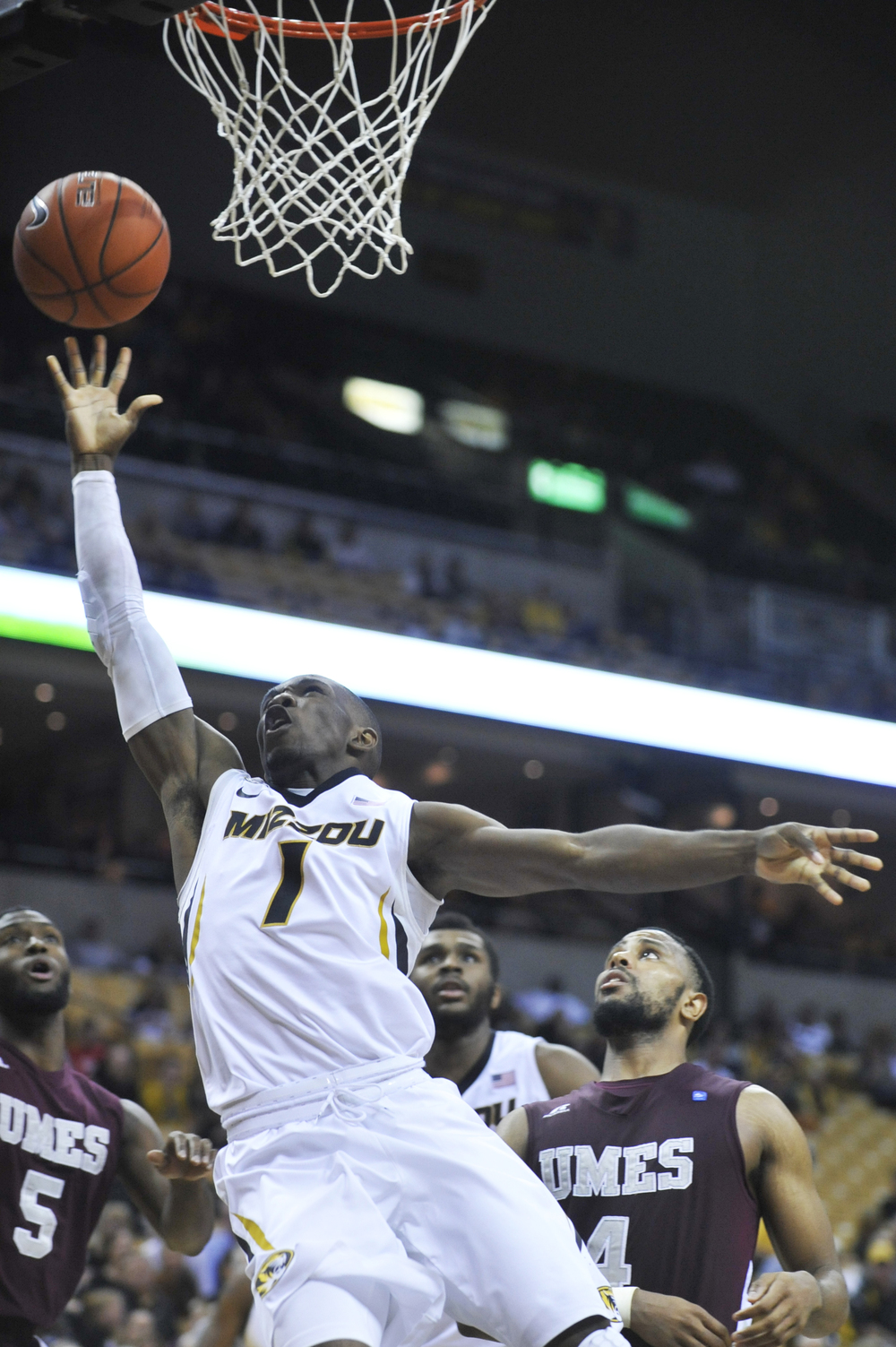 Missouri's Terrence Phillips shoots the ball as Maryland-Eastern Shore's Stephen Spurlock and Devin Martin watch on Sunday, November 15, 2015 at Mizzou Arena. Missouri won 73-55.