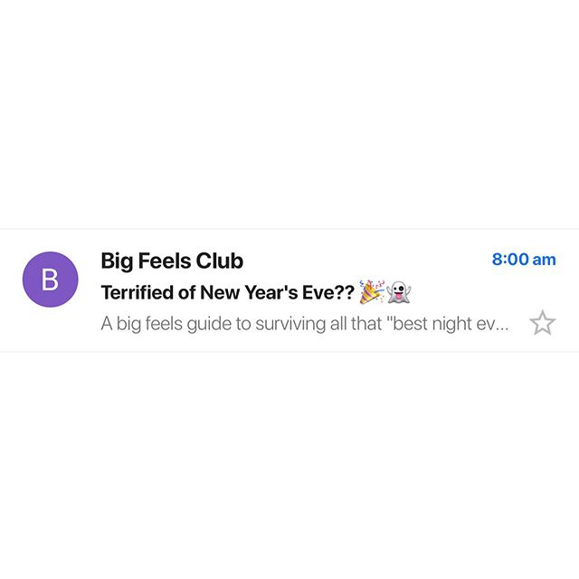 """Boyfriend Graham and I wrote a """"Stoic prayer for New Year's"""". It's kind of like a survival guide for dealing with all the people and """"best night ever!"""" pressure tonight. Swipe for a taster, link in bio over at @bigfeelsclub for the full thing 🎉👻"""
