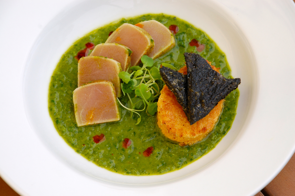 Seared Albacore Ceviche, basil pesto leche de tigre, chilled fresh corn polenta, nori chips