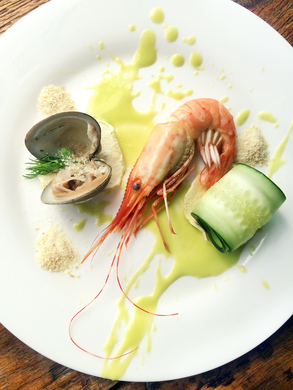 Steamed Santa Barbara Spot Prawn & Clam, Mulled English Pea Vinaigrette, Cucumber & Dehydrated apple, Dill & Cod Powder