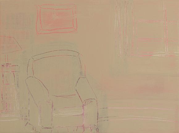 "BEHIND THE CHAIR, 2014, acrylic on canvas, 12 x 16"""