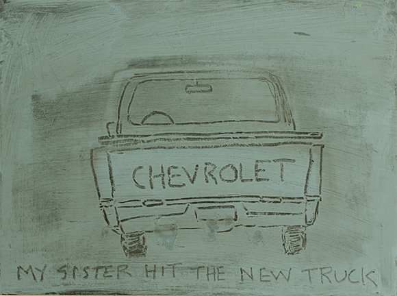 MY SISTER HIT THE NEW TRUCK, 2014, acrylic on canvas, 12 x 16""