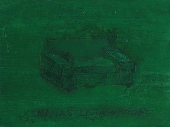 "NANA'S LIVING ROOM, 2014, acrylic on canvas, 12 x 16"""