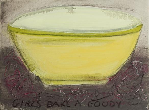 "GIRLS BAKE A GOODY, 2014, acrylic on canvas, 12 x 16"""