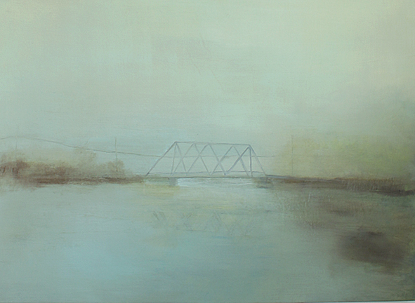 Bridge, 2014, acrylic and graphite on canvas, 35.5 x 48.5""