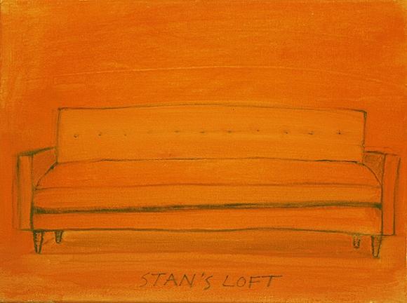 "STAN'S LOFT, 2014, acrylic on canvas, 12 x 16"""