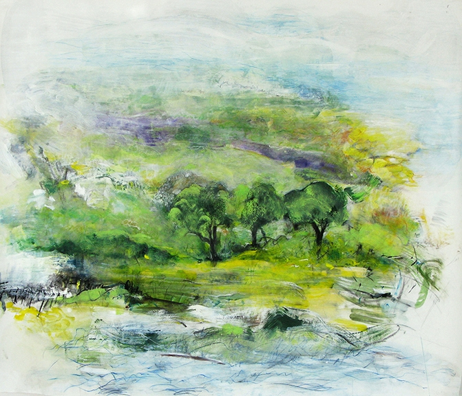 Three Trees, 2010, pastel, charcoal, acrylic on paper, 52 x 58""