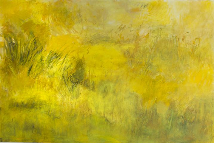 """I Need Yellow, 2017, acrylic, charcoal, pastel on canvas, 40 x 60"""""""