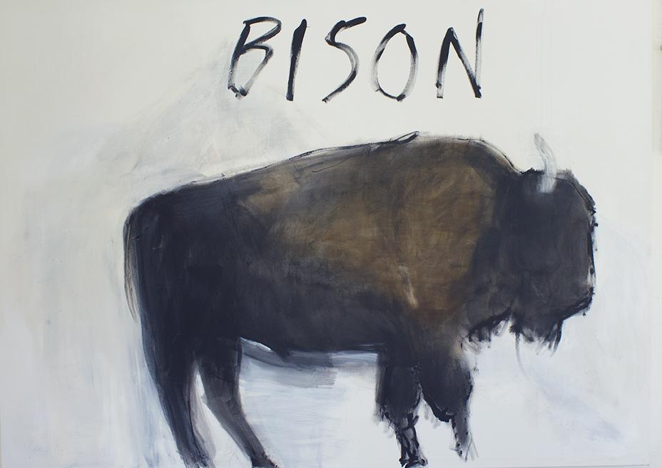 "Bison, 2018, acrylic on canvas, 51 x 71"""
