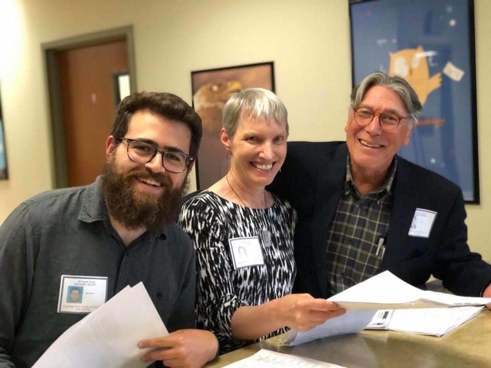 "That's Rachel, Zach and I at the filing of her petitions with the New York State Board of Elections in July, making her run ""official"". Eric is there too … behind the camera."