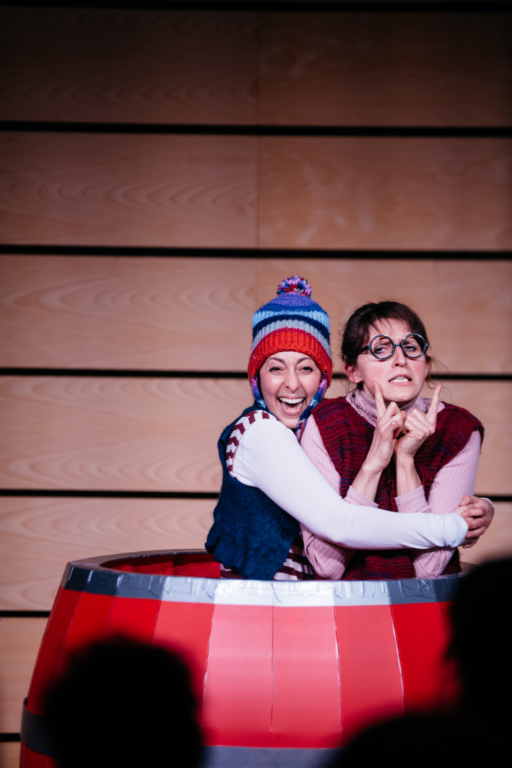 Ruxy and Sarah Rose in their barrel during Imaginate's Ideas Exchange Event in February 2019, Photo by Jassy Earl