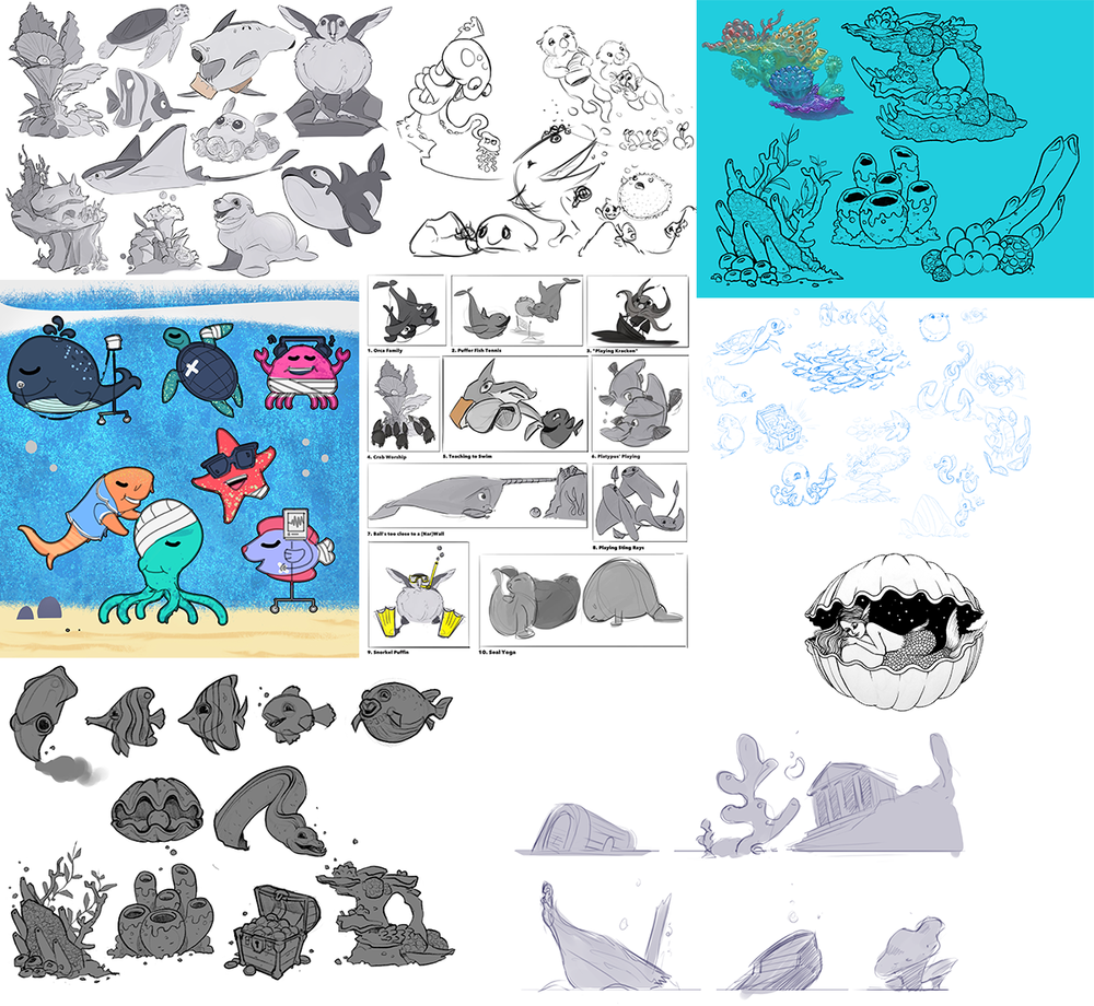 We explored funny fish shapes, small underwater scenes, interesting coral formations, amusing fish puns (brill-iant ones that are eely funny), it was all about getting a wide range of visual talking points for us to discuss and iterate upon.