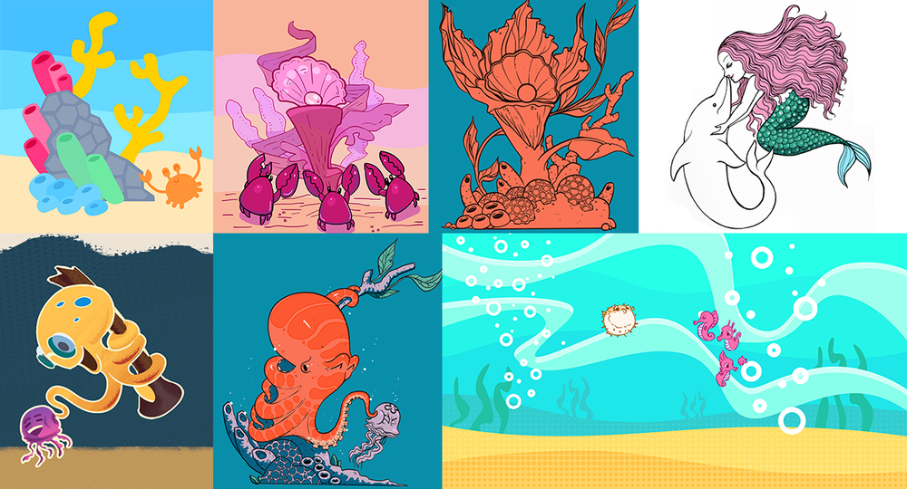 Some of the style exploration that we did, including looking at various colour palettes, as well as use of texture.