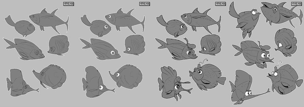 A great example from Gregor Kari showing how we pushed the shapes of these fish to be much more expressive and playful.