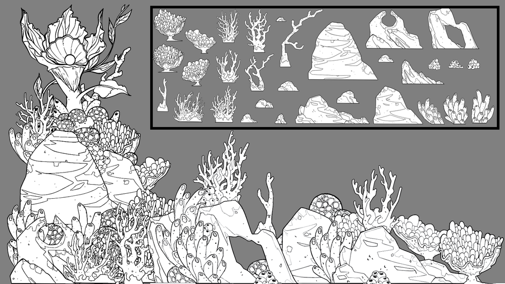 Example of how an environment asset sheet (top right) can be assembled creatively in multiple different configurations to give the random coral look and be really built up into a rich background piece.