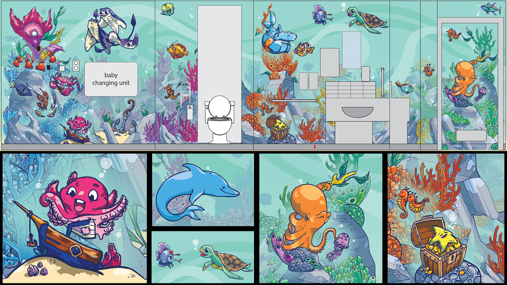 Final room artwork with room wire diagram overlay and call out images including a baby Kraken, a dolphin hidden behind the fold-down baby changing unit, a fish and a turtle talking about sea life, the tickling octopus and a starfish enjoying its treasure.